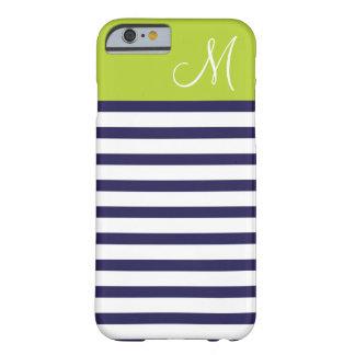 Coque iPhone 6 Barely There Bleu marine et monogramme de très bon goût vert de
