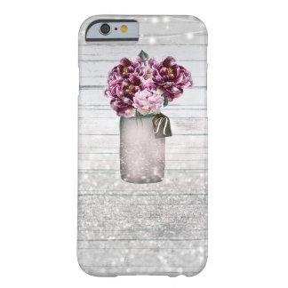Coque iPhone 6 Barely There Bois de charme et fleurs rustiques de pot de maçon