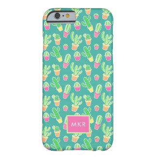 Coque iPhone 6 Barely There Cactus au néon d'aquarelle dans le motif de pots