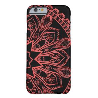 Coque iPhone 6 Barely There Caisse noire et rouge de téléphone de mandala