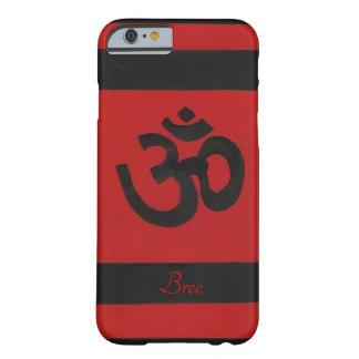 Coque iPhone 6 Barely There Caisse noire rouge Sanskrit personnalisée de