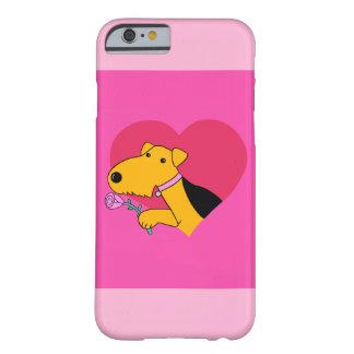 Coque iPhone 6 Barely There Caisse rose de l'iPhone 6 du chien W d'Airedale à