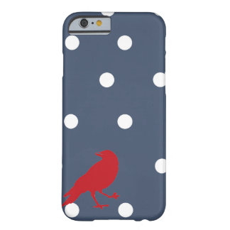 Coque iPhone 6 Barely There Caisse rouge de téléphone d'oiseau de point de