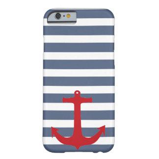 Coque iPhone 6 Barely There Caisse rouge rayée de bleu marine et blanche