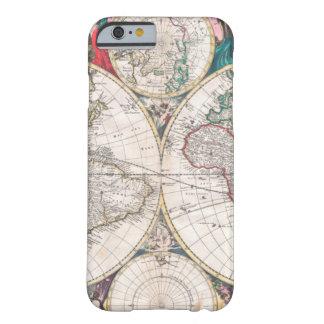 Coque iPhone 6 Barely There Carte antique du monde de Double-Hémisphère