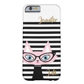 Coque iPhone 6 Barely There Cas chic de l'iPhone 6/6S de monogramme de chat
