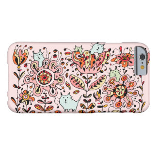Coque iPhone 6 Barely There Cas rose de l'iPhone 6 de chats amicaux de fleur