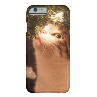 Coque iPhone 6 Barely There Chats et lumières - chat de Noël - arbre de Noël