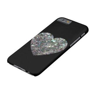 Coque iPhone 6 Barely There Coeur argenté coloré scintillant personnalisable