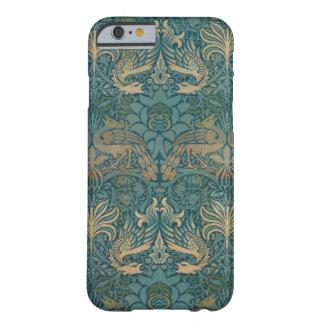 Coque iPhone 6 Barely There Conception de paon de William Morris et de textile