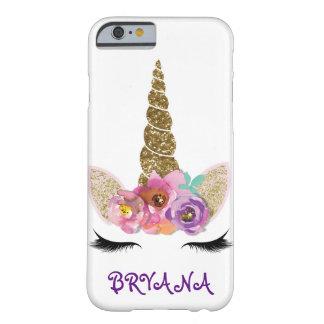 Coque iPhone 6 Barely There Filles florales de klaxon de licorne d'étincelle
