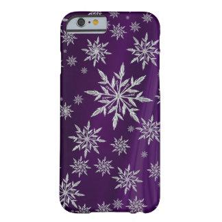 Coque iPhone 6 Barely There Flocons de neige argentés scintillants sur le