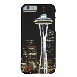 Coque iPhone 6 Barely There Horizon de Seattle la nuit, avec l'aiguille de