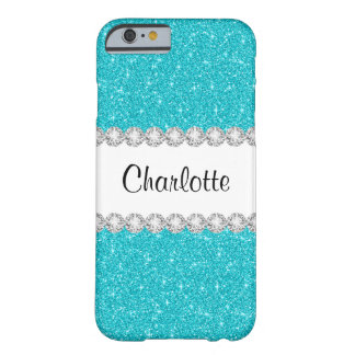 Coque iPhone 6 Barely There Le scintillement bleu turquoise Bling d'Aqua a