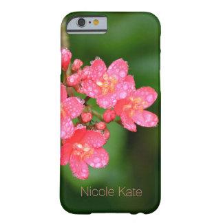 Coque iPhone 6 Barely There Les fleurs roses avec de l'eau laisse tomber le