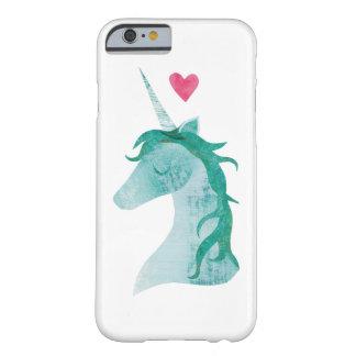 Coque iPhone 6 Barely There Magie bleue de licorne avec le coeur