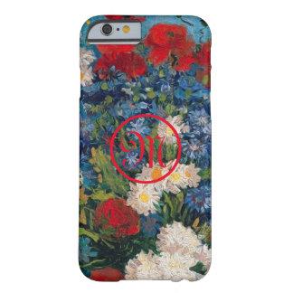 Coque iPhone 6 Barely There Monogramme de fleurs de Van Gogh et d'Elizabeth -