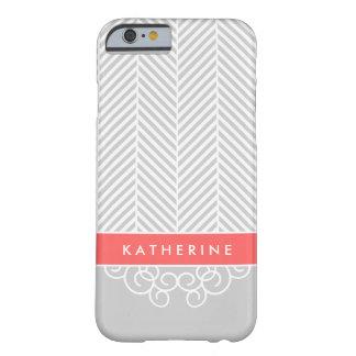 Coque iPhone 6 Barely There Monogramme en arête de poisson gris et de corail