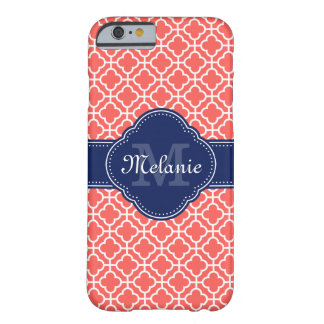 Coque iPhone 6 Barely There Monogramme marocain blanc rose de corail de marine