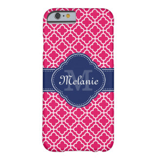 Coque iPhone 6 Barely There Monogramme marocain blanc rose de marine de motif