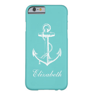 Coque iPhone 6 Barely There Monogramme vintage de coutume d'ancre de turquoise