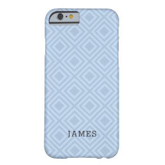 Coque iPhone 6 Barely There Motif bleu tropical de diamant avec le nom fait