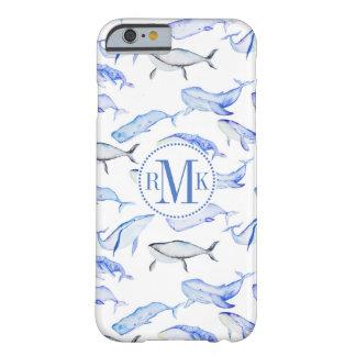 Coque iPhone 6 Barely There Motif de baleine bleue d'aquarelle