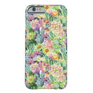 Coque iPhone 6 Barely There Motif de floraison exotique de cactus d'aquarelle