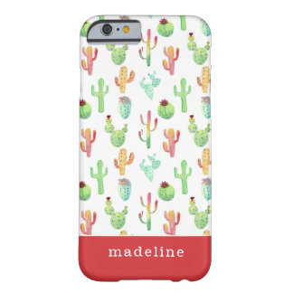 Coque iPhone 6 Barely There Motif en pastel d'aquarelle de cactus