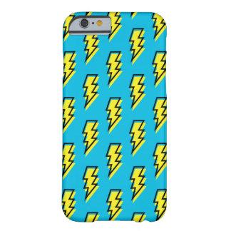 Coque iPhone 6 Barely There motif jaune bleu au néon de boulon de foudre des