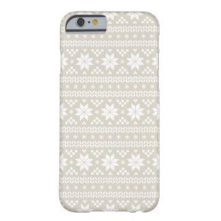 Coque iPhone 6 Barely There Motif juste beige de toile de chandail de Noël