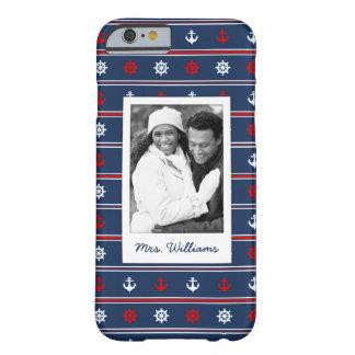 Coque iPhone 6 Barely There Motif nautique patriotique | votre photo et nom