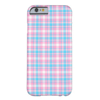 Coque iPhone 6 Barely There Motif rose, bleu-clair et blanc de plaid