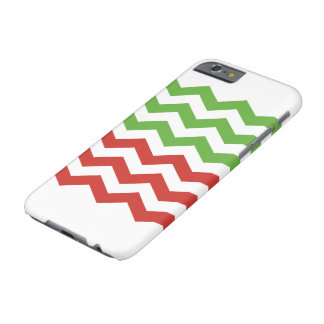 Coque iPhone 6 Barely There Motif rouge et vert de Noël de rayure de Chevron