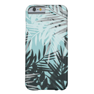 Coque iPhone 6 Barely There Motif tropical noir bleu-clair