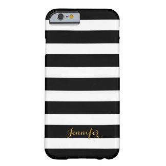 Coque iPhone 6 Barely There Noir et monogramme de rayures de classique d'or