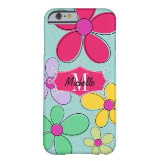 Coque iPhone 6 Barely There Nom floral lunatique de monogramme de bannière de