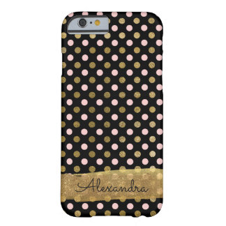 Coque iPhone 6 Barely There Nom rose, noir et de feuille d'or de polka de