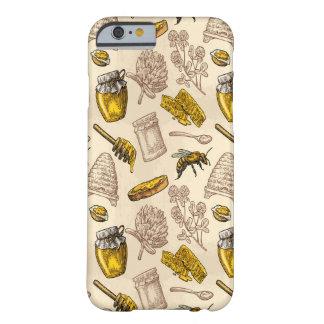 Coque iPhone 6 Barely There Organique vintage jaune d'or de ruche d'abeille de