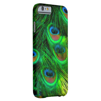 Coque iPhone 6 Barely There Paon psychédélique de PixDezines, vert vert