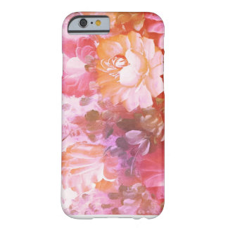 Coque iPhone 6 Barely There Rose + Caisse abstraite florale orange de