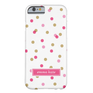 Coque iPhone 6 Barely There Rose et monogramme de points de confettis d'or