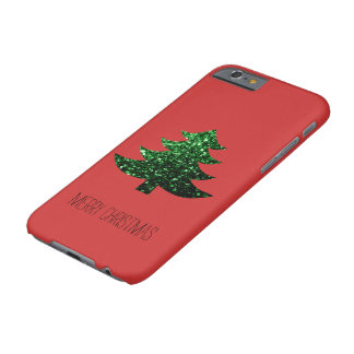 Coque iPhone 6 Barely There Rouge scintillant d'étincelle de vert d'arbre de
