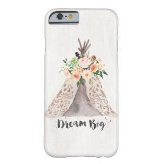 Coque iPhone 6 Barely There Teepee chic et arrangement floral d'aquarelle de