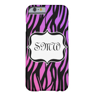 Coque iPhone 6 Barely There Zèbre pourpre/rose chaud barre le monogramme