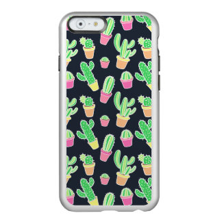Coque iPhone 6 Incipio Feather® Shine Cactus au néon d'aquarelle dans le motif de pots