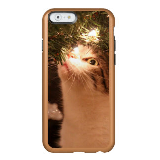 Coque iPhone 6 Incipio Feather® Shine Chats et lumières - chat de Noël - arbre de Noël
