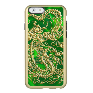 Coque iPhone 6 Incipio Feather® Shine Dragon de relief d'or sur la copie verte de satin