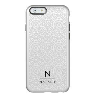 Coque iPhone 6 Incipio Feather® Shine Monogramme moderne argenté de Quatrefoil |