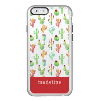 Coque iPhone 6 Incipio Feather® Shine Motif en pastel d'aquarelle de cactus
